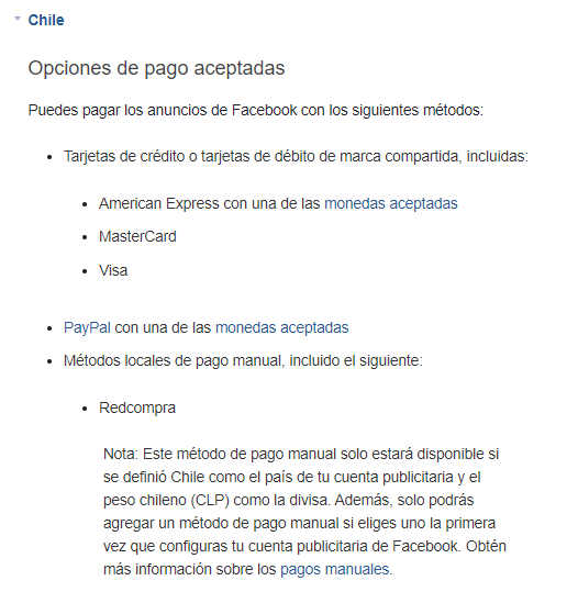 Cómo agregar métodos de pago en la cuenta publicitaria de Facebook 2
